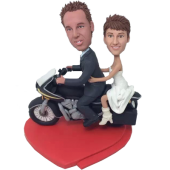 Couple on Motorbike Wedding Bobbleheads