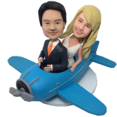 Couple On Plane Wedding Bobbleheads