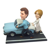 Couple Pushing Car Bobbleheads