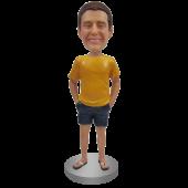 Custom Bobblehead In T-shirt, shorts and Flip Flop