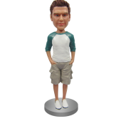 Customized Bobblehead In Henley and Shorts