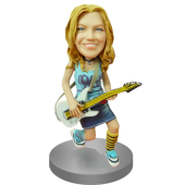 Personalised Female Guitarist Bobblehead