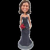 Grey Dress Bridesmaid Bobble Head