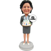 Skirt Suit Lady Bobblehead Cake Topper