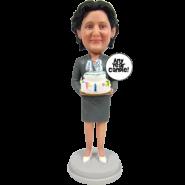 Skirt Suit Lady Bobblehead Cake Topper