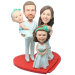 Family Wedding Bobbleheads Cake Topper